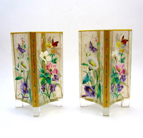Pair of Exceptional MOSER Flower Vases