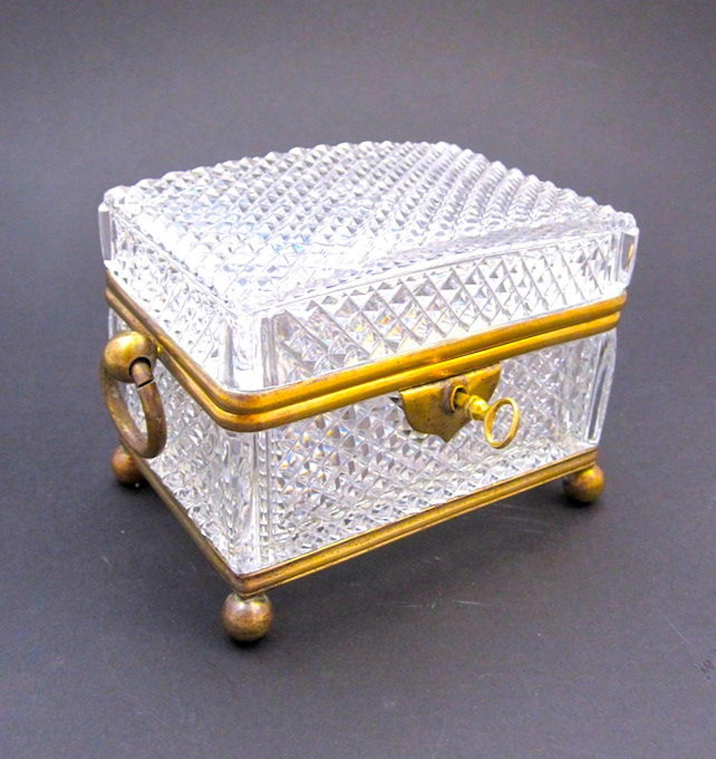 Antique French Diamond Cut Crystal Casket with Dore Bronze Mounts