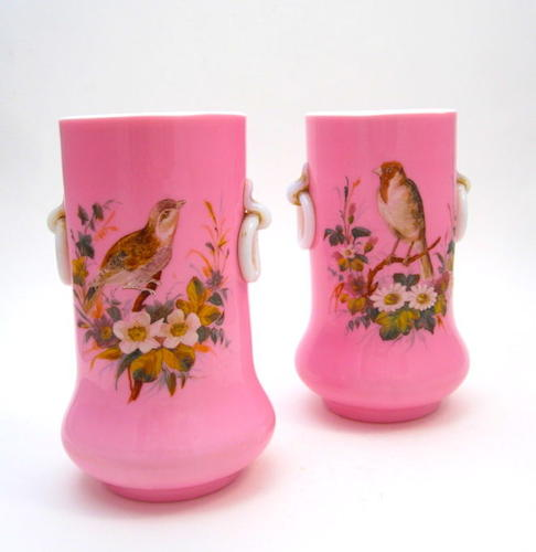 Pair of Antique Pink Opaline Vases