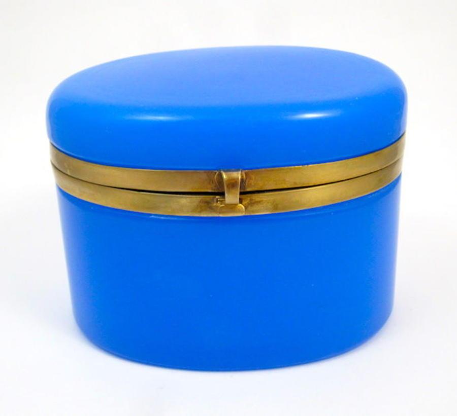 Antique French Blue Opaline Glass Oval Casket Box