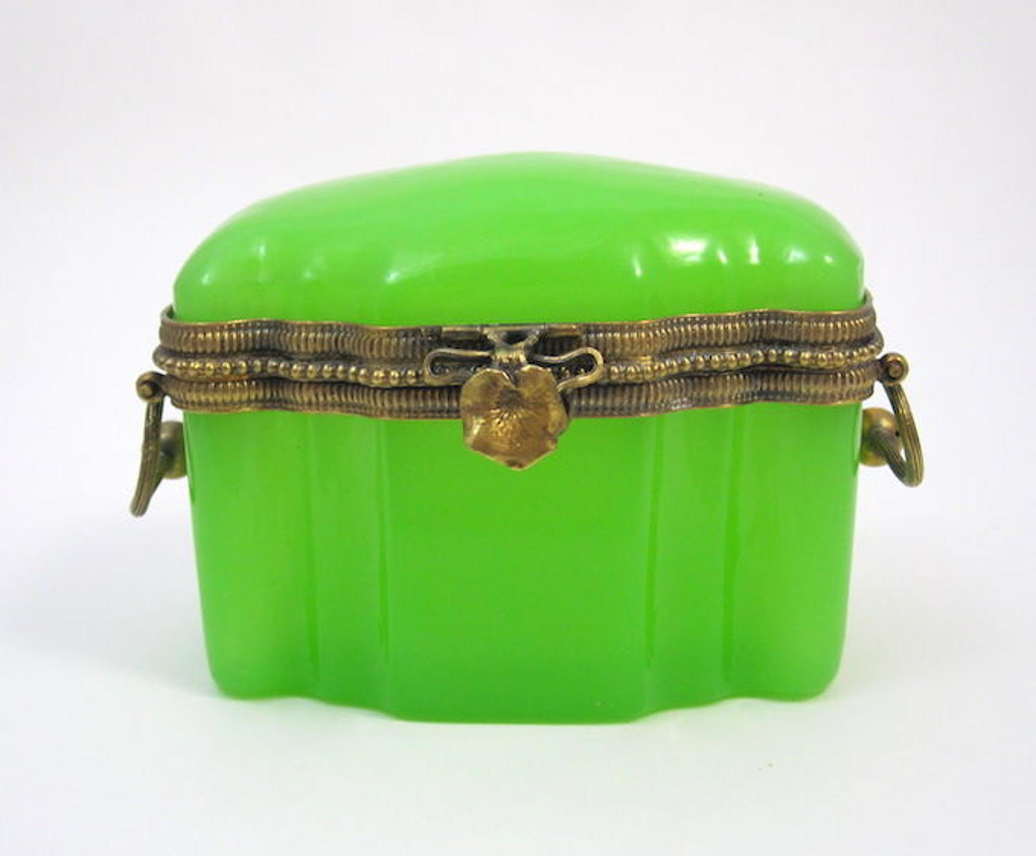 Very Pretty Antique French Green Opaline Glass Casket Box