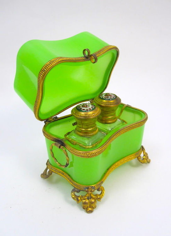 Antique Baccarat Opaline Glass Perfume Casket