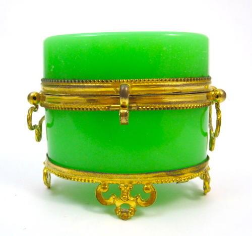 Antique Green Opaline Glass Casket Box