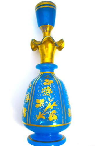 Large Antique Baccarat Blue Opaline Glass Perfume Bottle