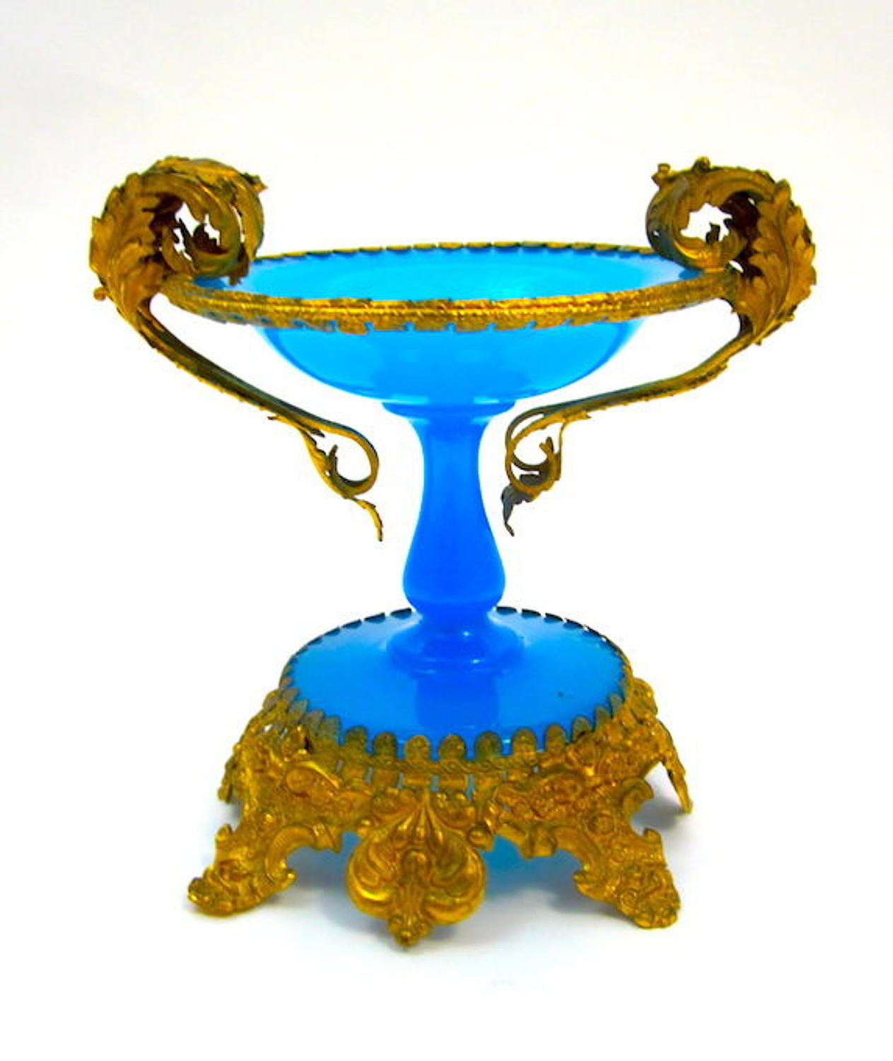 Antique French Palais Royal Blue Opaline Glass Bowl with Dore Bronze