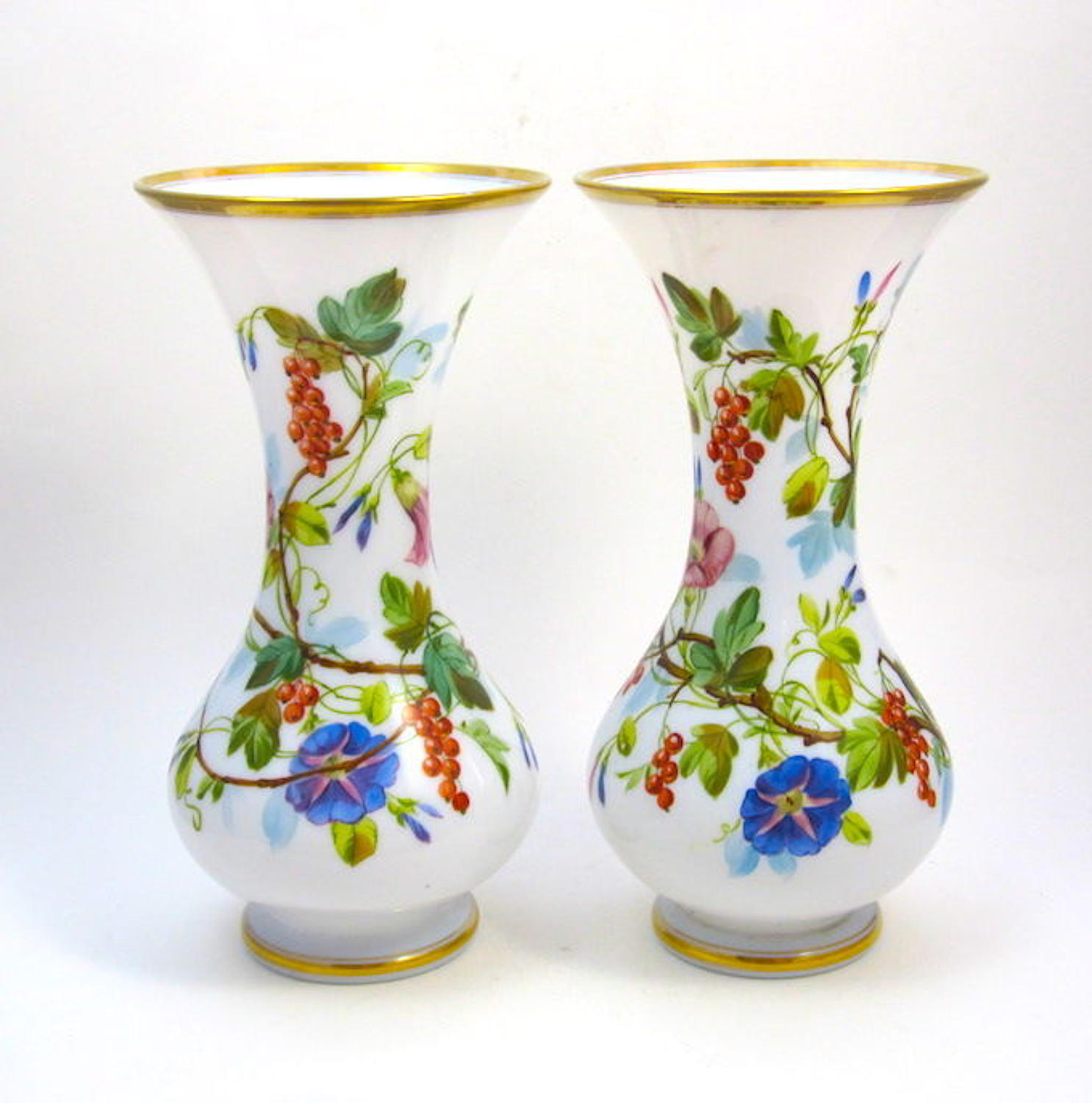 Pair of Antique French Baccarat Opaline Glass Vases