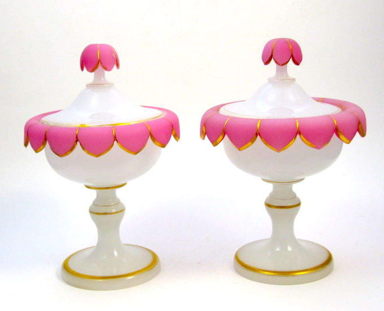 Pair of Antique French Pink and White Opaline Glass Vases and Covers