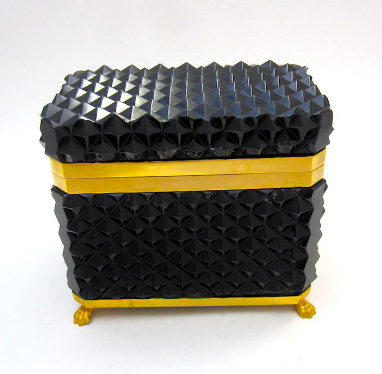 Rare BlackOpaline Diamond Cut  Rectangular Casket Box