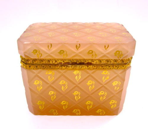 Antique French Peach Pink Opaline Glass Casket Box