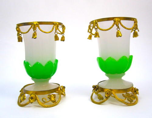 Antique Pair of French Palais Royal Opaline Glass Vases