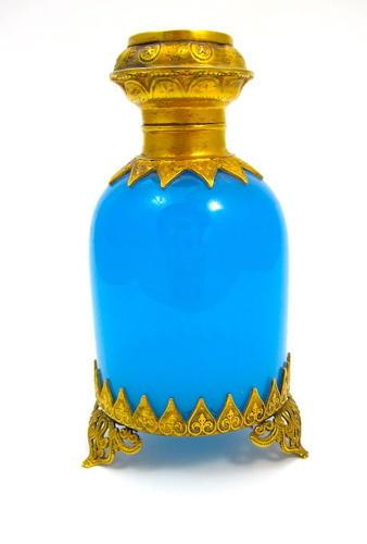 Antique Palais Royal BlueOpaline Glass Perfume Bottle