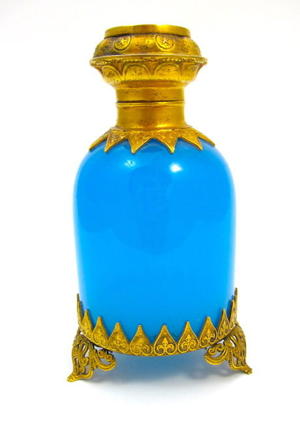 Antique Palais Royal Blue Opaline Glass Perfume Bottle