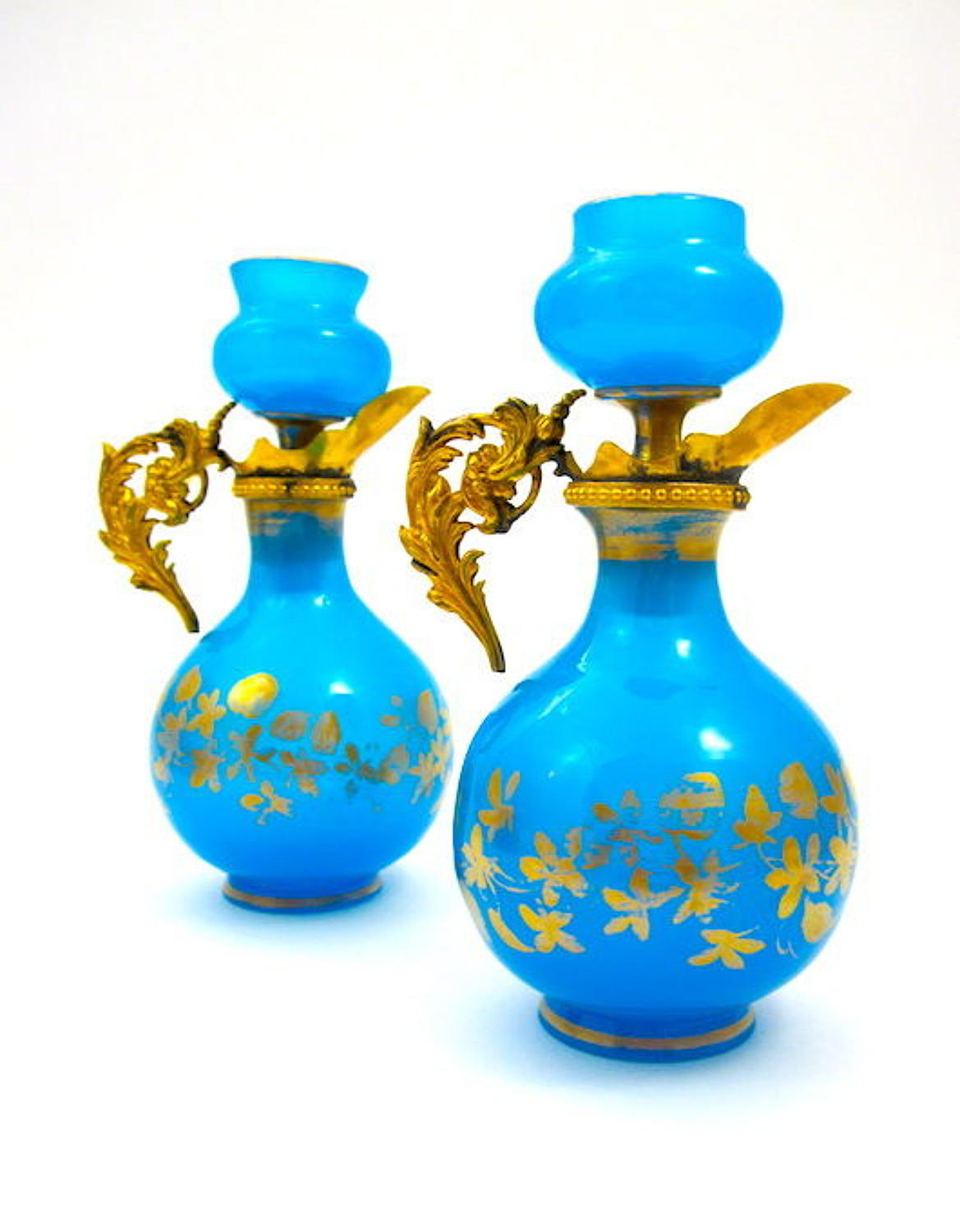 Pair Antique French Blue Opaline Glass Perfume Bottles