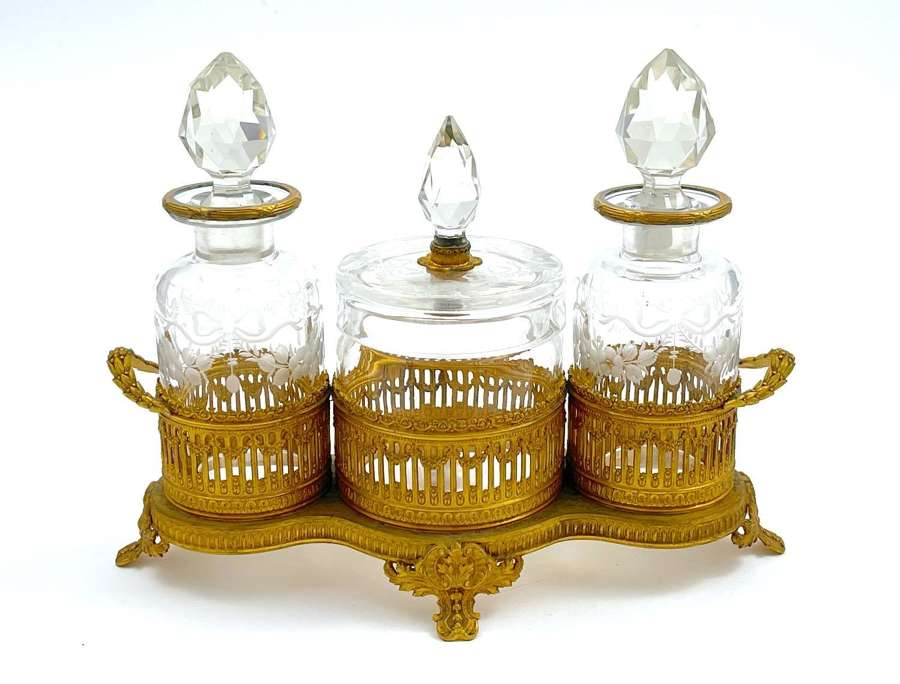 Antique French Crystal and Dore Bronze Perfume Set