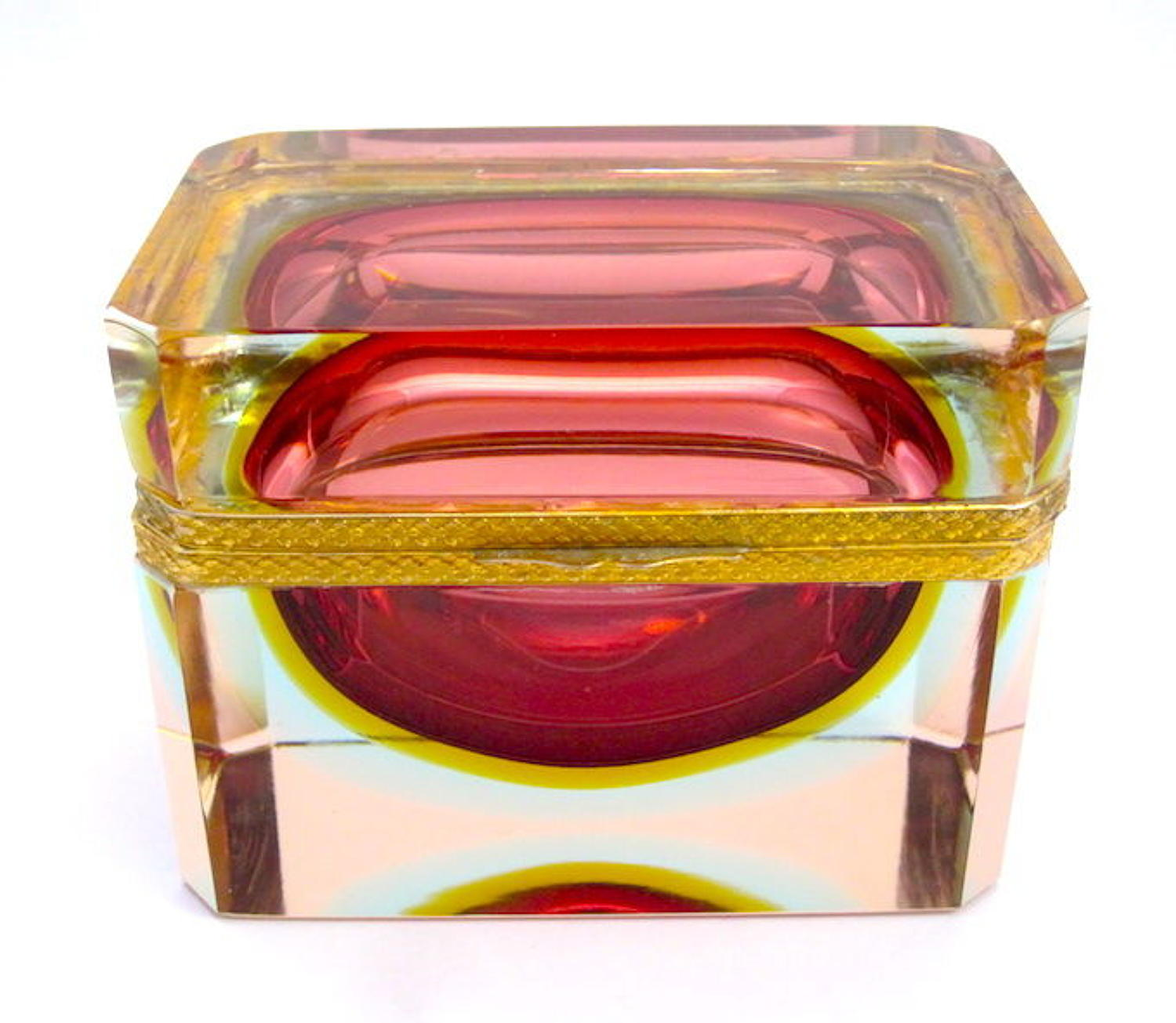 Vintage Murano Sommerso Cranberry Glass Casket