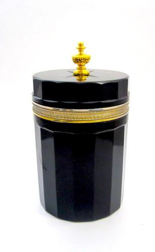 LARGE AntiqueBlack Opaline Glass Casket Box