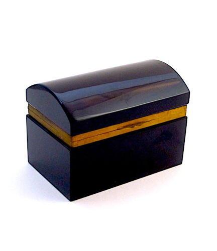 Rare AntiqueBlack Opaline Glass Casket Box with Domed Lid