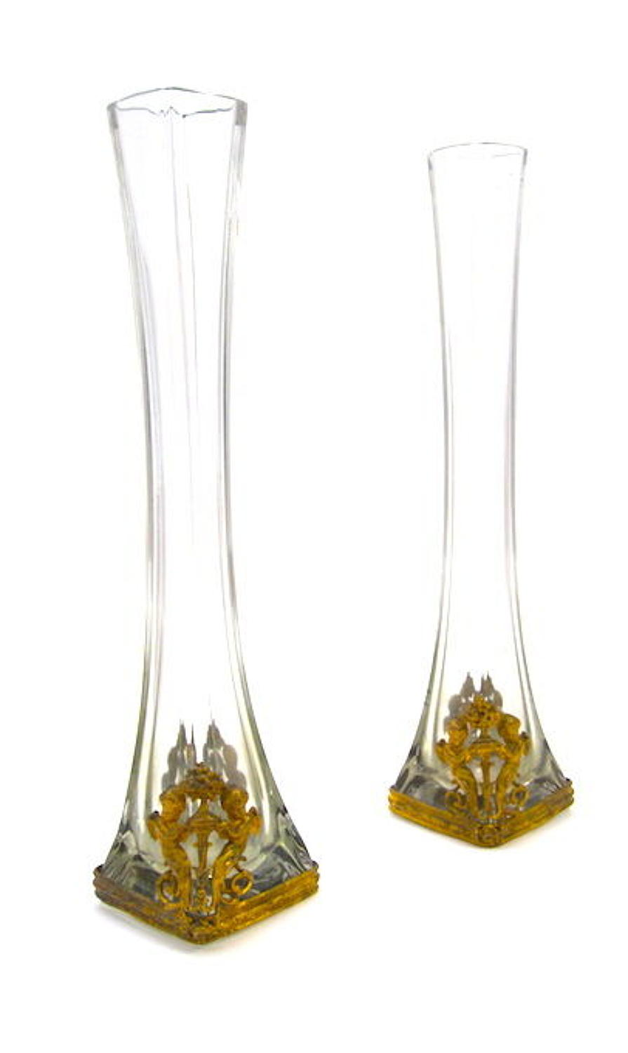 Pair of Antique Empire Crystal and Dore Bronze Vases with Cherubs