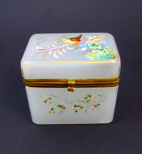 Pretty Antique Miniature White Opaline Glass Enamelled Casket Box