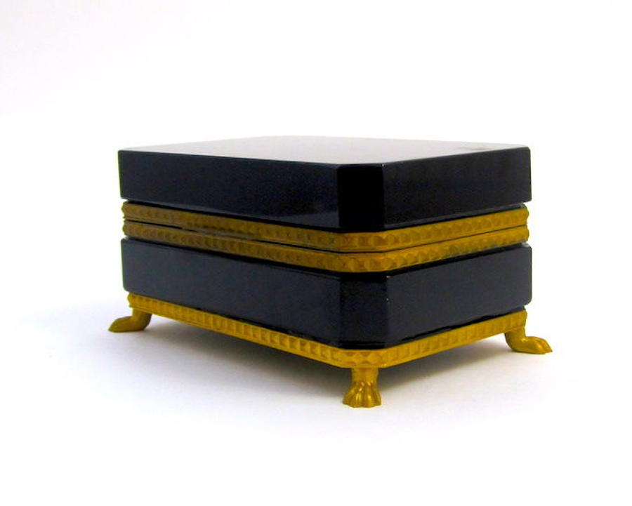 Antique Black Opaline Glass Casket Box with Dore Bronze Mounts