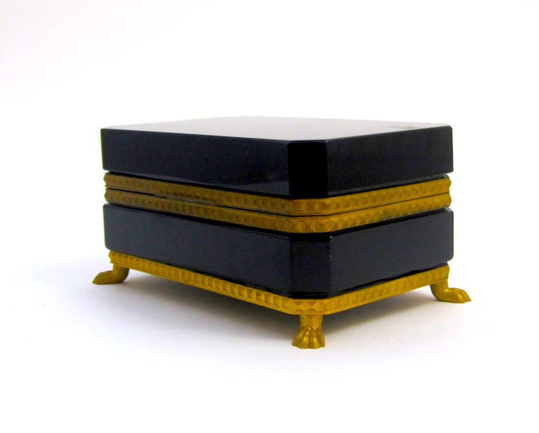 Antique Black Opaline Glass Casket Box withDore Bronze Mounts