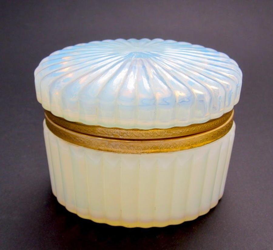 Antique French Oval Casket in 'Bulle de Savon' Opaline Glass.