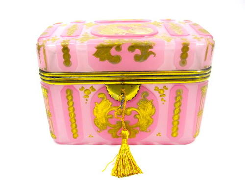 Rare Pink Opaline Glass Casket Box and Original Key
