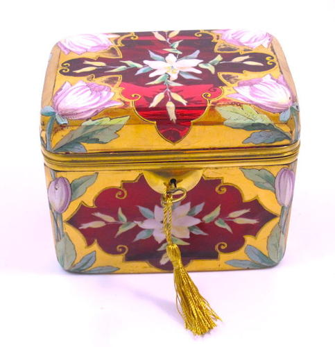 Rare Large MOSER Cranberry Casket Enamelled with Flowers