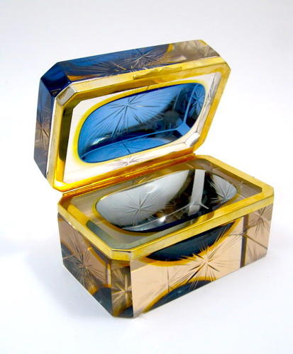 Vintage Murano Sommerso Blue Glass Casket and Dore Bronze Mounts with