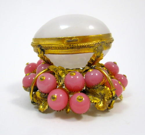 Antique French White Opaline Egg with Pink Baubles
