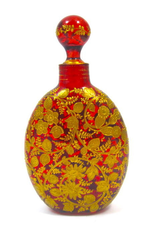 Antique MOSER Ruby Enamelled Glass Perfume Bottle