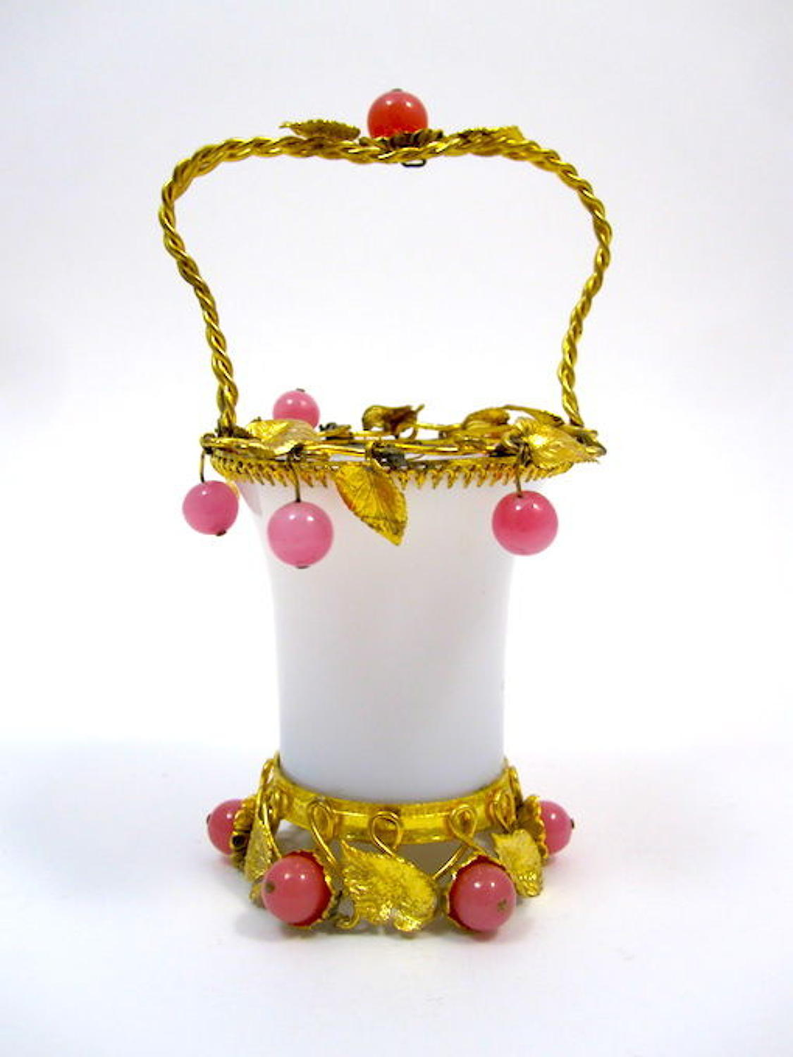 Antique White Opaline Glass Basket with Pink Opaline Baubles