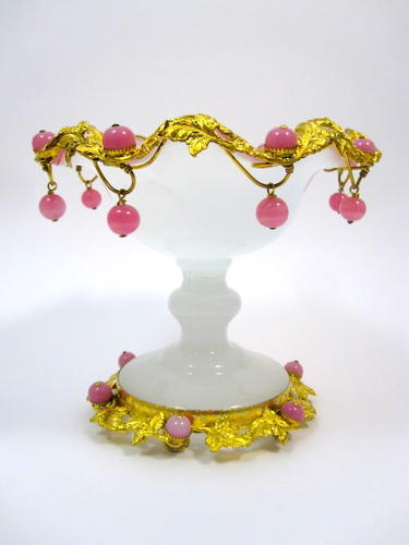 Antique French White Opaline Glass Bowl with Pink Opaline Baubles