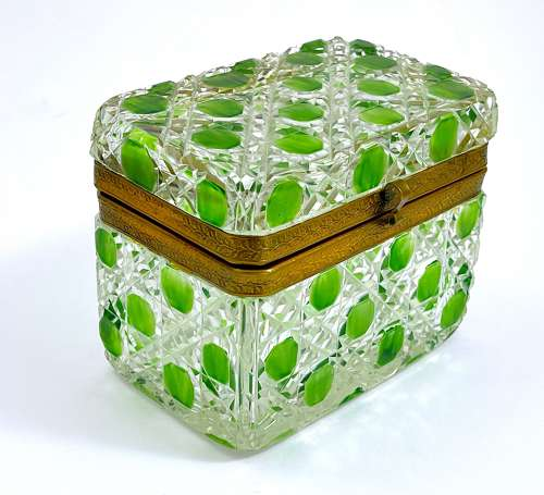 Antique Baccarat Green Cut to Clear Hobnail Cut Crystal Casket