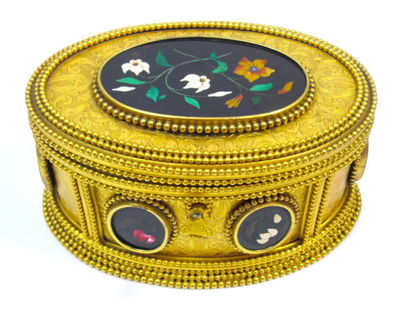 Signed TAHAN Paris Pietra Dura Casket Box