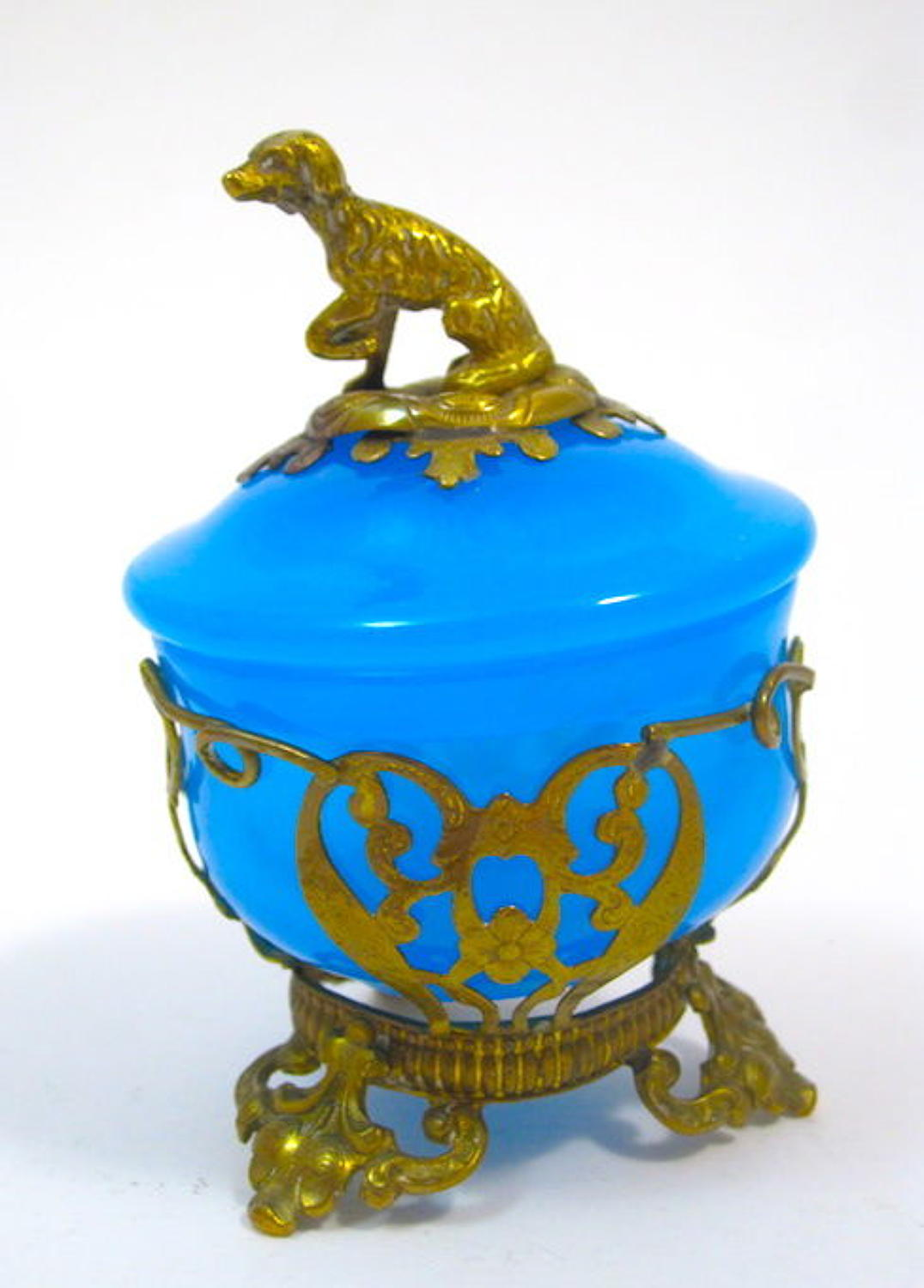 Antique French Blue Opaline Glass Pot and Cover with Bronze Dog