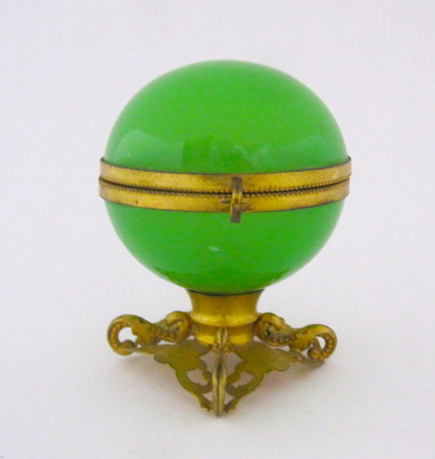 Antique French Green Opaline Glass Globe Casket Box