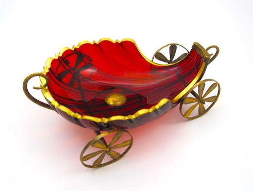 Large French Antique Ruby Red Cut Crystal Shell Shaped Carriage