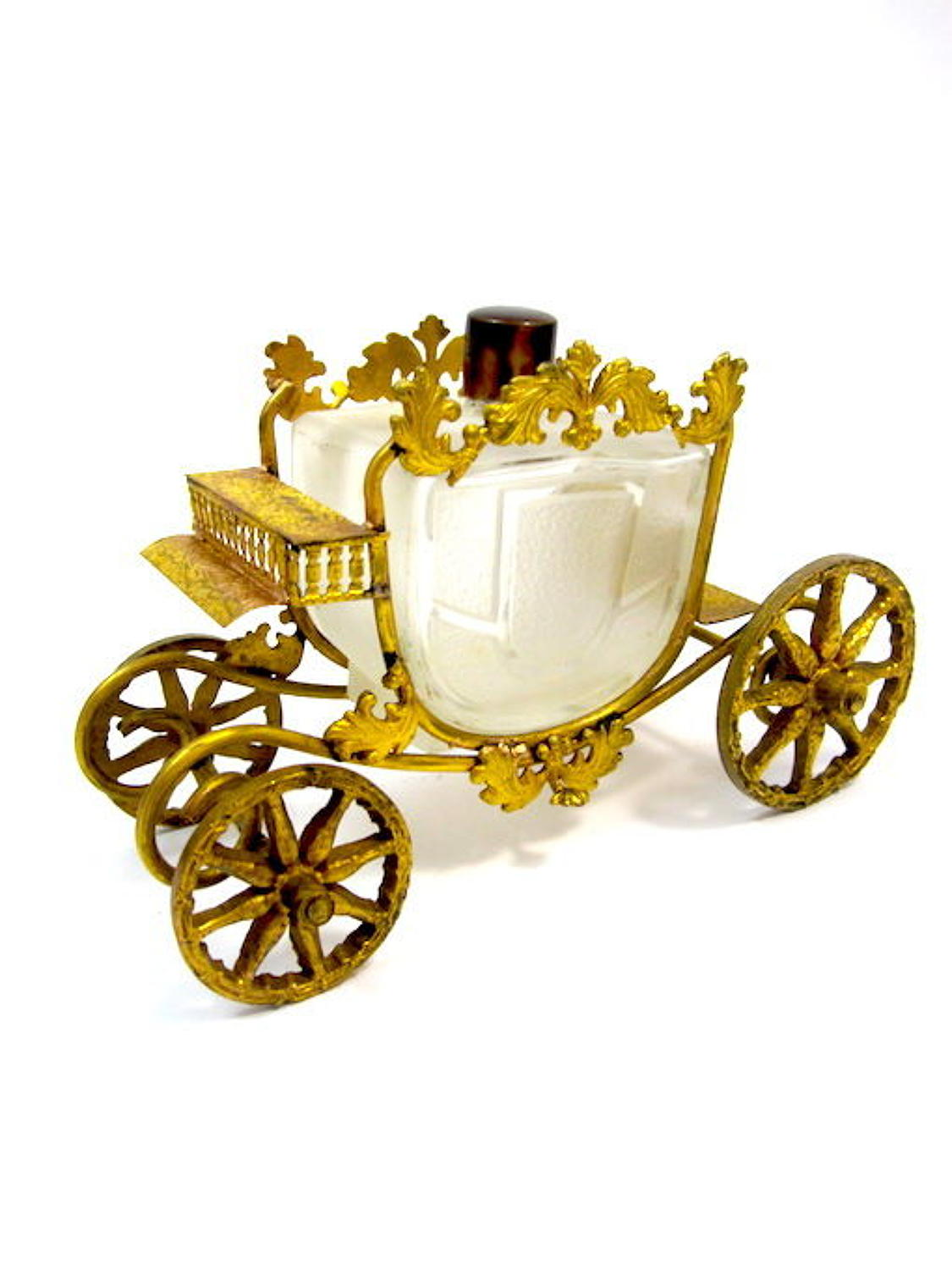 Unusual Antique French Glass Perfume Bottle and Dore Bronze Carriage
