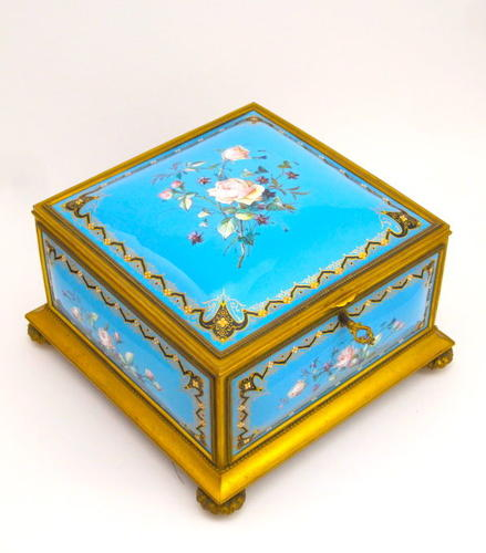 XL Monumental TAHAN Antique French Celeste Blue Casket