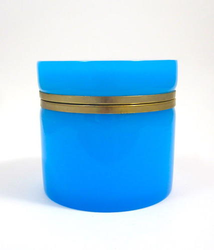 Large Antique French Blue Opaline Glass Casket Box