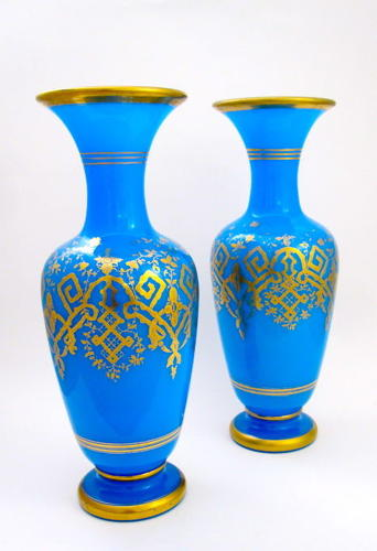 Pair of High Quality Antique BACCARAT Blue Opaline Glass Vases