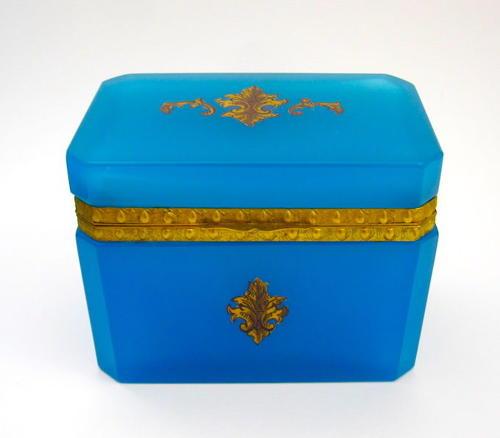 Antique French Blue Opaline Glass Fleur-de-Lys Casket