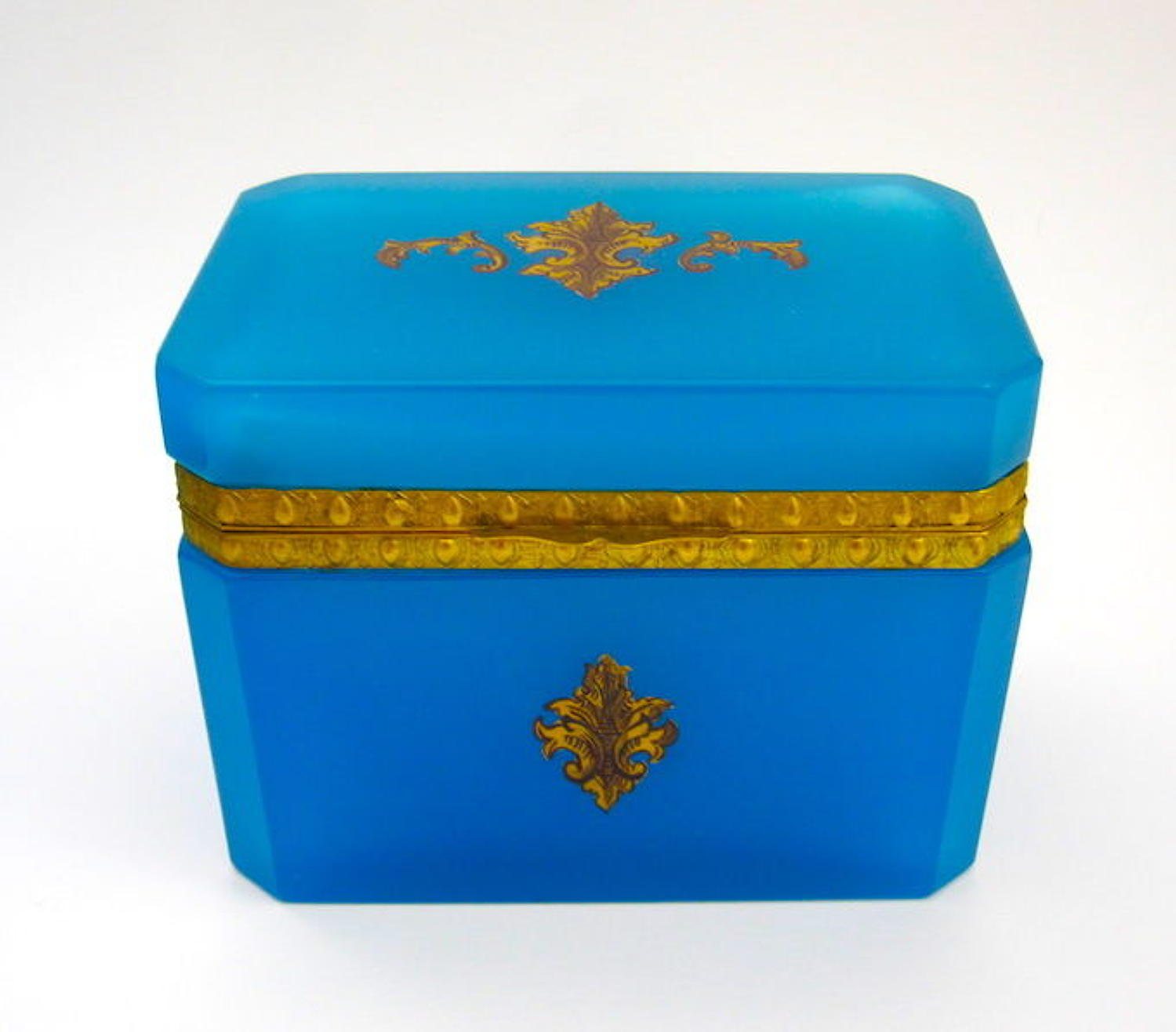 Antique French Blue Opaline Glass Fleur-de-Lys Casket