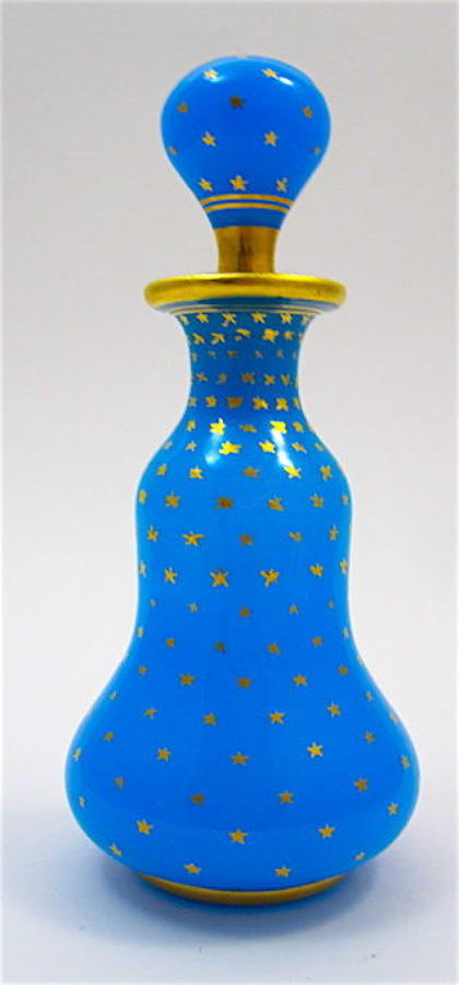 Antique Baccarat Blue Opaline Glass Perfume Bottle with Gilded Stars