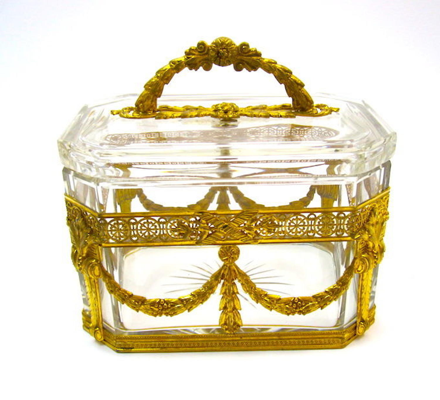 High Quality French Napoleon III Dore Bronze and Crystal Casket