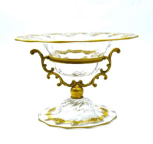 Antique French Gilded Crystal and Dore Bronze Centrepiece