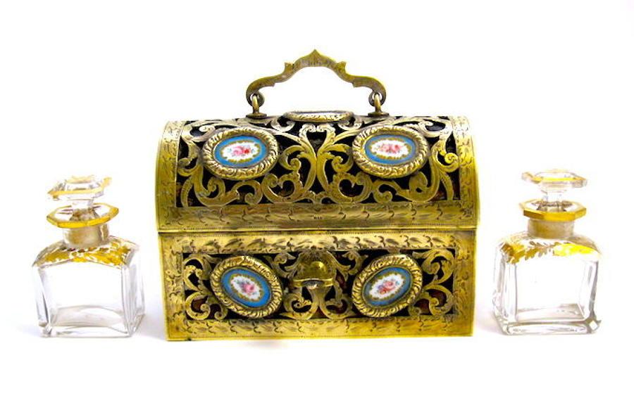 Antique French 'Sevres' Dore Bronze andPorcelainPerfume Casket