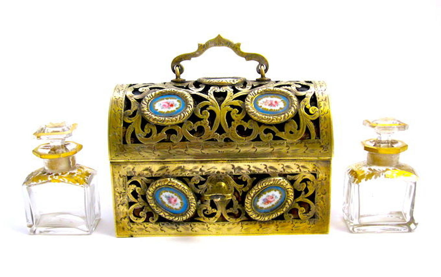 Antique French 'Sevres' Dore Bronze and Porcelain Perfume Casket