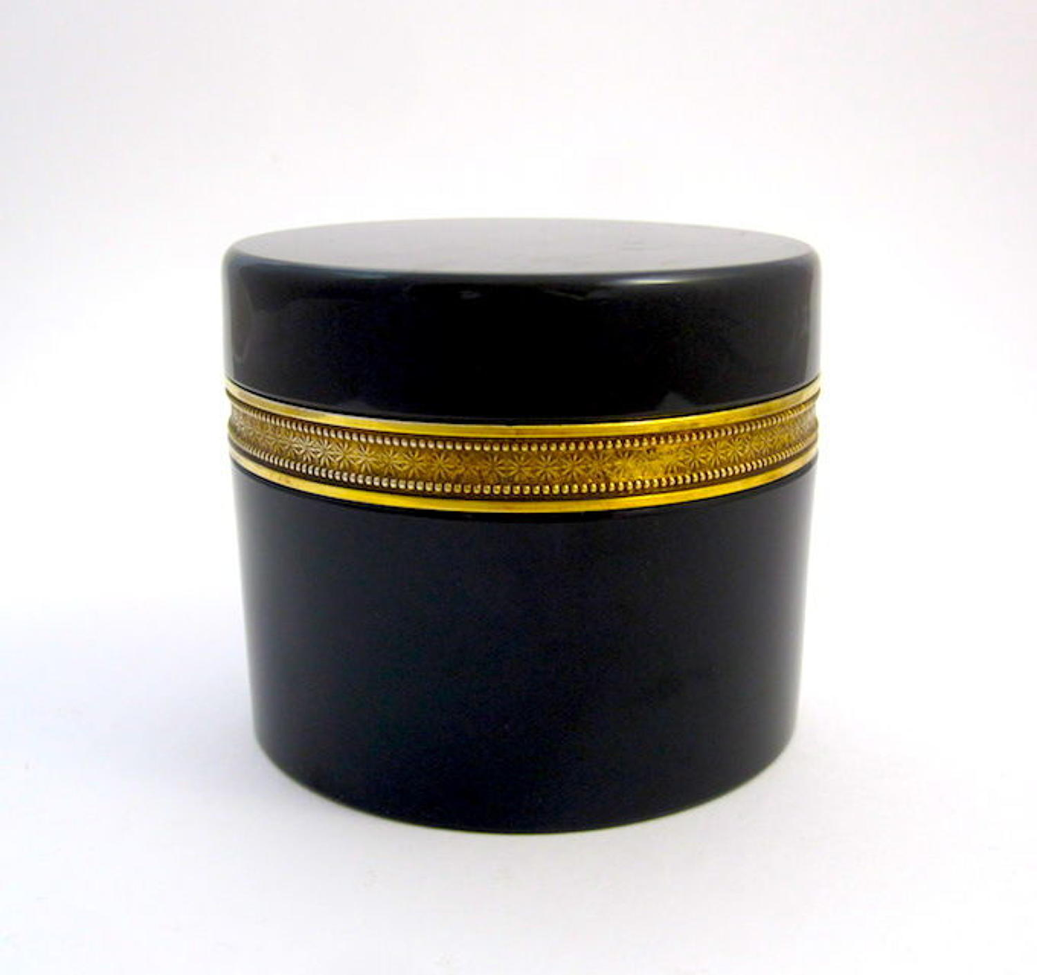 Murano Black Opaline Glass Casket Box